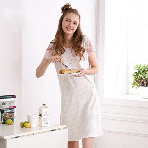 Camicia da notte per bambina nuova estate pigiama a righe a maniche corte in cotone versione coreana di vestiti per la casa in cotone rosa e bianco ( size : l )