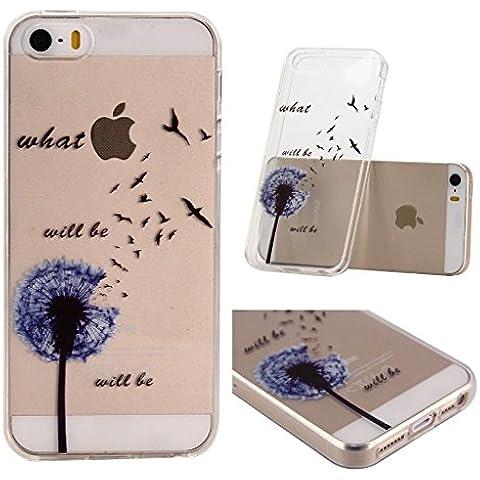 iPhone 5C Cover , YIGA Blu Dente Di Leone Nero Trasparente Silicone Cristallo Morbido TPU Case Custodia per Apple iPhone 5C