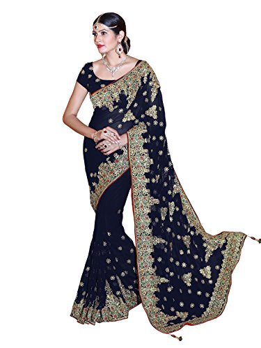 SOURBH Women's Heavy Embroidered Wedding Bridal Saree with blouse piece (3804_Navy Blue)