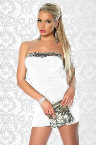 Sexy Bandeau-Minikleid mit Pailletten und Raffungen Weiß