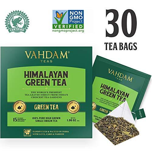 Grüntee-Blätter aus dem Himalaya (30 Teebeutel), 100% Natürlicher Detox Tee, Gewichtsverlust- & Schlankheitstee, REICH an NATÜRLICHEN ANTIOXIDANTIEN, der Weltweit Feinste Lose Blätter Grüntee, Verpackt an der Quelle