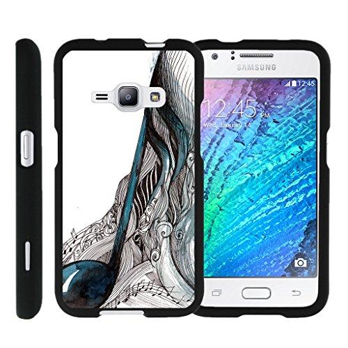 turtlearmor | Kompatibel für Samsung Galaxy J1Fall (2016) | J120[Slim Duo] Slim Fit Kompaktes Displayschutzfolie Snap auf Hard Case Matt auf Schwarz Music Design -, Artistic Music Notes