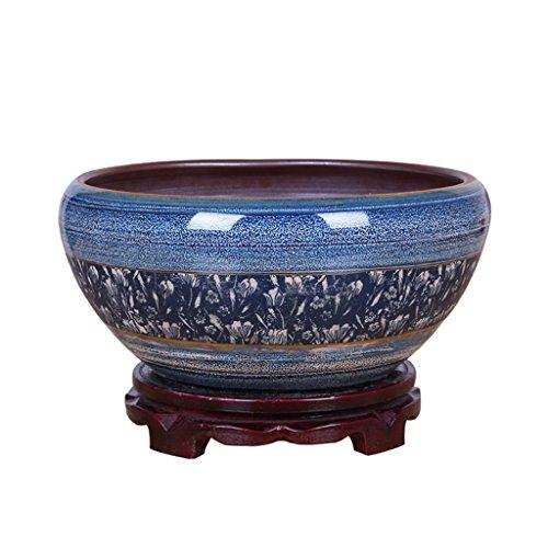 Vase Peaceip Pot de Fleur en céramique de Style Chinois avec Plateau/intérieur Gros Pot de Plante de Calibre sans Trous réservoir de Poissons/Plante hydroponique planteur succulente 30~40cm