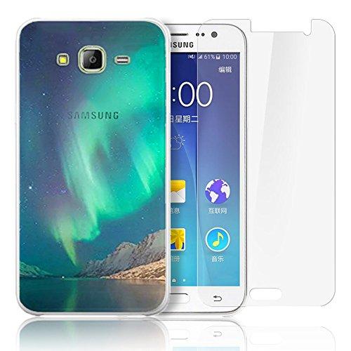 Samsung Galaxy J500 Cover,Samsung Galaxy J5(2015) Custodia , Paesaggio Scenario Ultra Sottile PC Opaco trasparente Back Protettiva Case + 1x Protezione Dello Schermo Screen Protector - Mountain 02 model 6