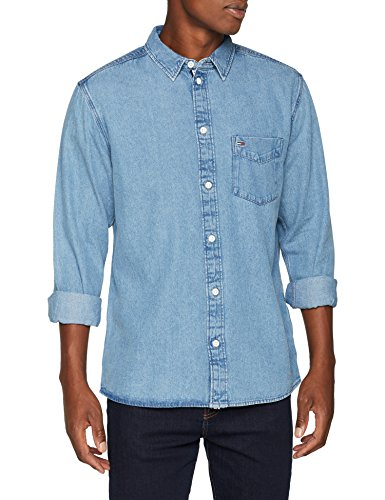 Tommy Jeans Herren Clean Langarm Regular Fit Jeanshemd Blau (Mid Indigo 412) Medium Preisvergleich