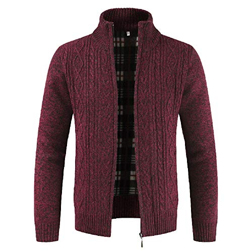 Long Sleeve Knit Pants (WWricotta Fashion Men's Autumn Winter Casaul Zipper Jacket Knit Cardigan Long Sleeve Coat(rot,M))