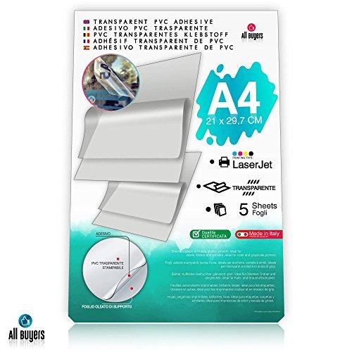 Carta Adesiva PVC Trasparente Lucida A4 Fogli in vinile Polipropilene 5-10-15-20-25 per stampanti laser (5) - 2AINTIMO