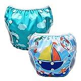 Luxja Pañal de Natación para bebes Bañador Reutilizable de Nadar de Bebé Pañal lavable para Bebé (0-3 años), Unicornio + Velero