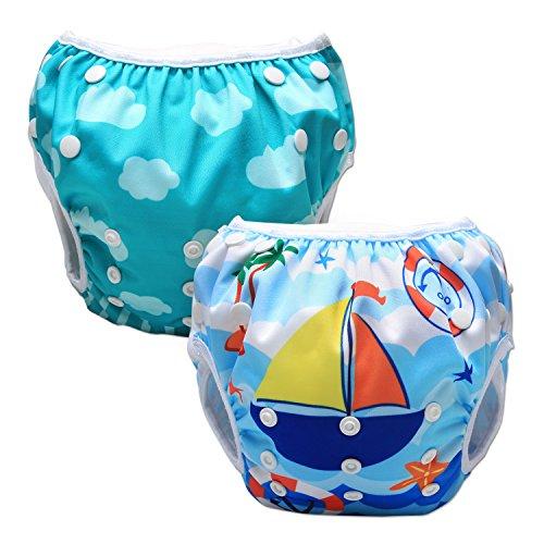 Luxja Riutilizzabile Pannolini da nuoto (Confezione da 2), Costume Pannolino Lavabili, Impermeabile Pannolino Piscina (0-3 anni), Unicorno + barca a vela