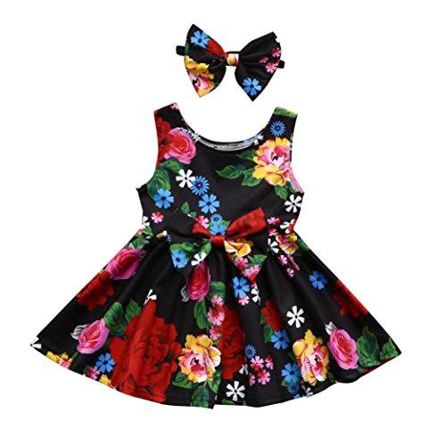 Uomogo® bambino ragazze estate principessa vestire bambini festa di nozze abiti senza maniche festa di compleanno abiti scarpe set vestito 0-24 mesi (età: 12 ~ 18 mesi, rosso)