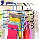 Multi-Purpose 5 Layer Clothes Hanger Wardrobe Storage Organizer II Multicolored II Set of 5 II