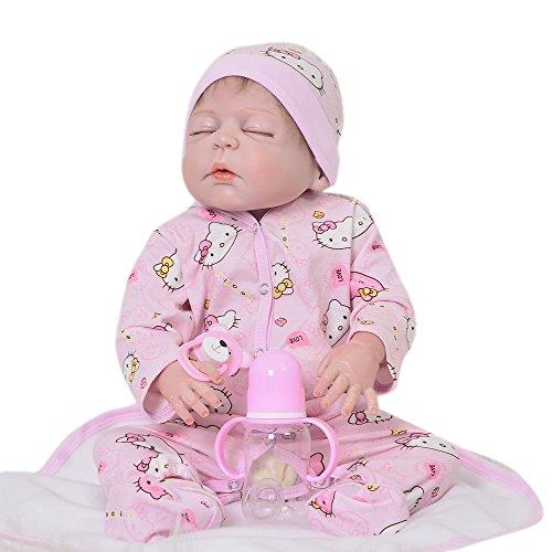 KEIUMI Muñeca de bebé DE 23 Pulgadas de Vinilo de Silicona para Dormir, Niño o Niña, Impermeable, para Recién Nacido, Juguete de Muñecas, Regalo de Cumpleaños para Niños (Niña)