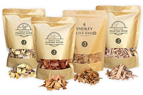 Smokey Olive Wood 4X Copeaux de Bois Fumage; 1700ml de Bois d'olivier, 1700ml de Bois d'amandier, 1700ml de Bois d'oranger, 1700ml Bois du chêne Vert. Taille du Grain 2-3 cm