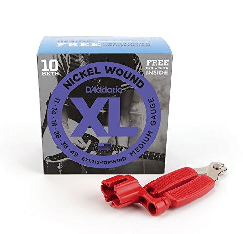 D 'Addario EXL120Bonus 10unidades con rojo Pro Winder, Super luz, 9–42, 10sets