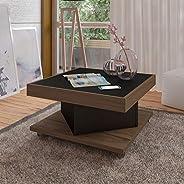 Artely Saara Coffee Table, Walnut Brown with Black - W 63 cm x D 63 cm x H 33.5 cm