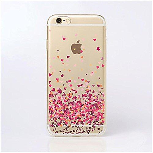 PTitanMantisP custodia Stampe a forma di cuore come un morbido petalo ()(iPhone SE,Rosa)