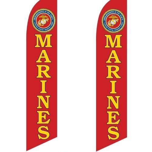 2 (two) Pack Tall Swooper Flags USMC Marine Corps Offical Seal by Super Ad Flag -