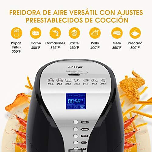 HABOR Freidora sin aceite, Freidora de aire caliente de 3.6L, 1500 W, Sistema de protección contra sobrecalentamiento, Pantalla LED grande, Temperatura y tiempo ajustable, Ebook de recetas incluido