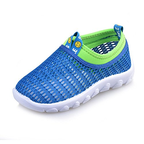O&N Kids Breathable Mesh Slip On Athletic Exercise Walking Outdoor Sports Running Shoes Blue