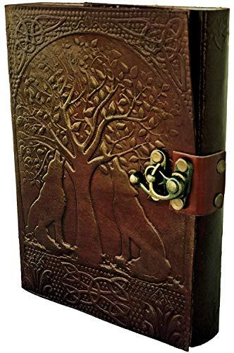 Woodland Leathers Limited Handgefertigtes Leder-Notizbuch & täglicher Notizblock für Männer & Frauen, 240 Seiten ungelötes Papier, Größe 17,8 x 12,7 cm