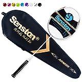 Senston N80 Grafite singolo di alta qualità Racchetta Badminton, in fibra di carbonio della racchetta di volano, volano Compreso Bag,Bianco colore