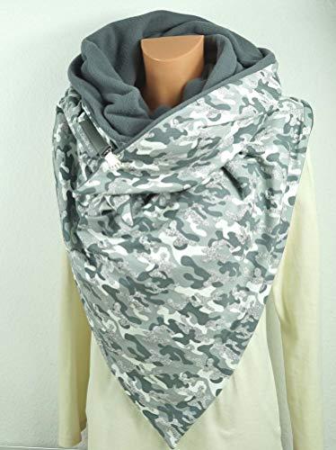 Kuscheliges XXL Dreieckstuch: Camouflage, grau silber -