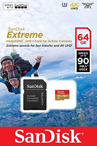 SanDisk 64GB Extreme MicroSDXC UHS-I / V30 / U3 / Class 10 Memory Card with SD Adapter Action Cameras & Smartphones