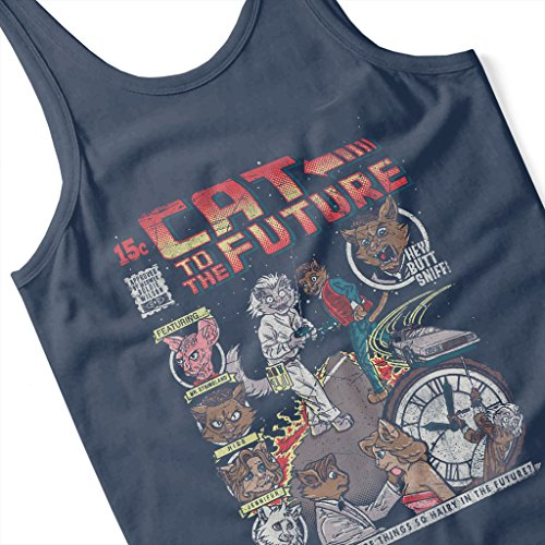 Cloud City 7 Cat Back to The Future Womens Vest Navy blue
