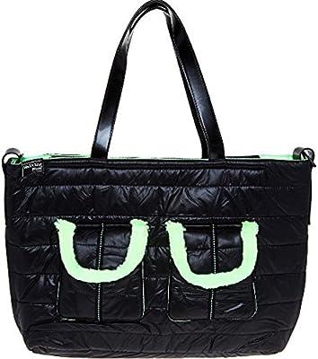Negro y neón acolchado bolso cambiador