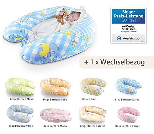 Sei Design® Baby Stillkissen Schwangerschaftskissen XXL 190 x 30cm + 1x noch ein Kissenbezug. Die langlebige AIRDREAMBALL Füllung, bestehend aus Faserbällchen, sorgt für ein kuschliges Gefühl und ist geräuschneutral. Bezug mit Reißverschluss und hochwertiger Stickerei
