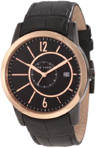 Ted Baker TE1080 - Reloj analógico de cuarzo para hombre con correa de piel, color negro