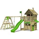 FATMOOSE Kletterturm RebelRacer Super XXL Spielturm Baumhaus Spielgerät Garten mit Rutsche, Schaukel und Surfanbau