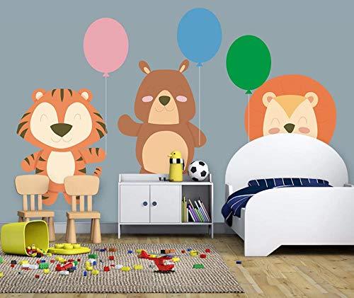 VVBIHUAING 3D Wand Tapete Aufkleber Wandbilder Dekorationen Tierlöwe-Jungenballon Der Netten Karikatur Art Bar Kinderküche (W) 400x(H) 280cm