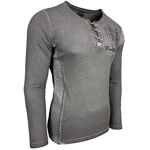 Rusty Neal Herren Longsleeve T-Shirt Langarmshirt Hemd Langarm Sweatshirt 10139 Anthrazit
