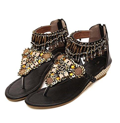 YMXJB Faible avec les femmes de couleur unie mode sandales strass Black