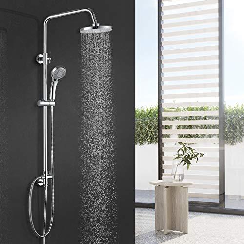BONADE Duschsystem Duschsäule ohne Wasserhahn inkl. Handbrause, Duschkopf, Duschstange Duschset Höhenverstellbar 90-120cm, Regendusche Überkopfbrause Set, Brause- und Duschsysteme Chrom