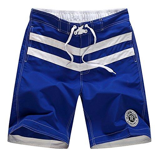 HOOM-Nouveau pantalon de plage d'été occasionnels Shorts hommes Camo coton taille lâche cinq pantalons shorts Color blue b