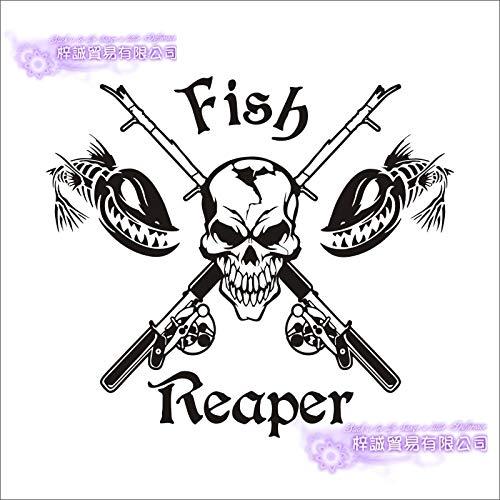 Angeln Aufkleber Auto Schädel Fisch Reaper Aufkleber Angeln Haken Tackle Shop Poster Vinyl Wandtattoos Hunter Decor Wandbild Sticker-112x100cm