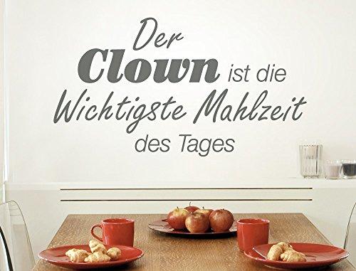 """I-love-Wandtattoo 12010 Wandtattoo Küchen Spruch \""""Der Clown ist die wichtigste Mahlzeit des Tages\"""" Schriftzug auf Deutsch humorvoll Wanddeko Wandbild Küchenwand Küchenfliesen Küchendeko Esszimmer"""