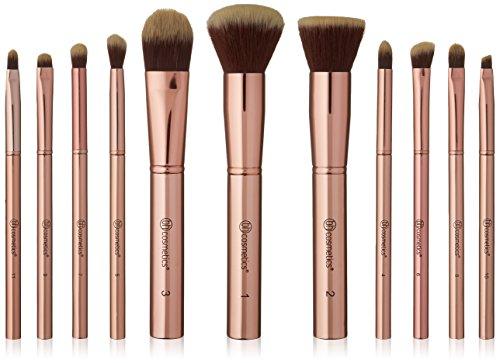 bhcosmetics rose métallique - ensemble de 11 pinceaux accompagné d'une trousse pour cosmétiques