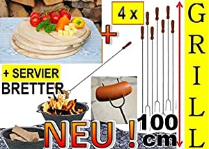 4X Grande Spiedini 100cm + 4X tagliere di legno Sottopiatto, Tagliere D 25cm, rotondo, falò di salsicce Spiedini, spiedi, grigliare verdure, ideale per grill un' ampia, Giardino party, compleanno, Outdoor, per fuoco guscio, Fuoco Cestini, Picnic Barbecue, Picnic Barbecue, garte noefen, Grill camino, si può usare, Picnic Set, lungo Grill forcella, spiefini, spedini, set di posate, forchetta e paletta, posate Grill, Grill Paletta, spiedi per barbecue, spiedi + legno