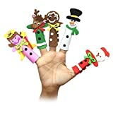 Pack of 5 Large Multicolour Foam Christmas Character Finger Puppets
