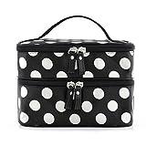 JJonlineStore,elegante borsetta da viaggio, organizer multi-funzione, da toeletta, con cerniere, per cosmetici, trucchi, con motivi a pois, polka, zip, doppio strato