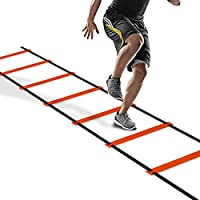 PULCHRA Agility Speed Ladder Athletic Football Soccer Basketball Footwork Fitness Exercise Workout Drills Training Running Hurdles With Portable Carrying Bag (8 12 20 Rungs, 3 Colors) (Orange, 6 m (19.7 ft) 12 rungs)