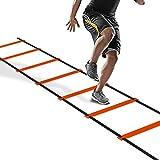 PULCHRA Koordinationsleitern Trainingsleiter Übungen dauerhafte Agility Leiter für Fußball Koordinations mit Tasche (Orange, 4 m 8 Sprossen)