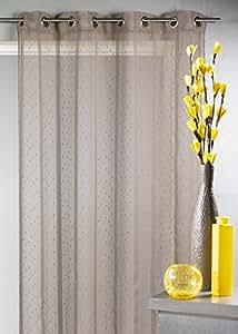Home Maison HM6923313 Voilage Tissé/Fileté à Grande Largeur Polyester Taupe 300 x 240 cm