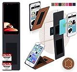 reboon Hülle für Elephone P8 Mini 2017 Tasche Cover Case Bumper | Braun Leder | Testsieger