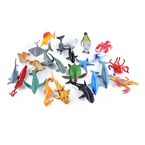 TOYMYTOY 24pcs plástico Sea Animal Figure Set Realistic Animal Toys Mini Sea...