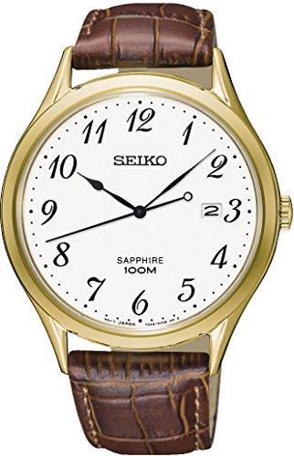 Seiko Herren Analog Quarz Uhr mit Leder Armband SGEH78P1