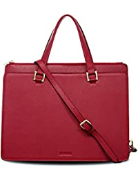 BOVARI sac à main sac porté épaule Victoria - cuir de veau à imprimé saffiano - 39x29x13cm - rouge